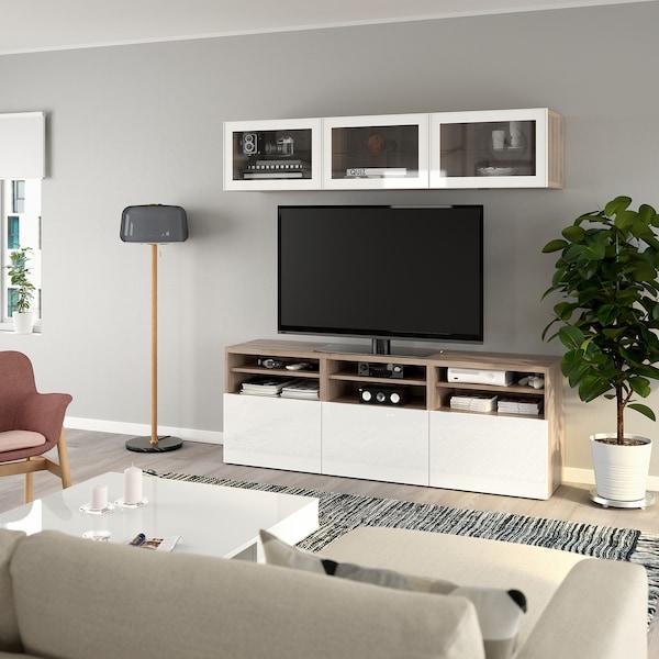 """BESTÅ TV storage combination/glass doors, walnut effect light gray/Selsviken high gloss/white clear glass, 70 7/8x15 3/4x75 5/8 """""""