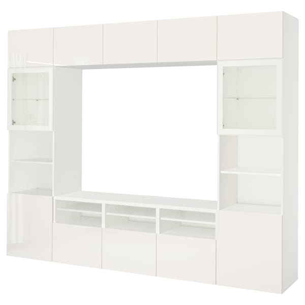 BESTÅ TV storage combination/glass doors, white/Selsviken high gloss/white clear glass, 118 1/8x15 3/4x90 1/2 ""