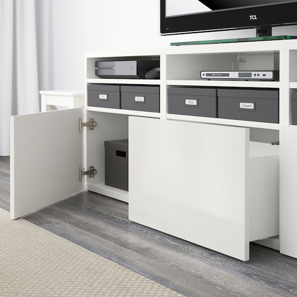 BESTÅ TV storage combination/glass doors, white/Selsviken high-gloss/white frosted glass, 70 7/8x15 3/4x75 5/8 ""