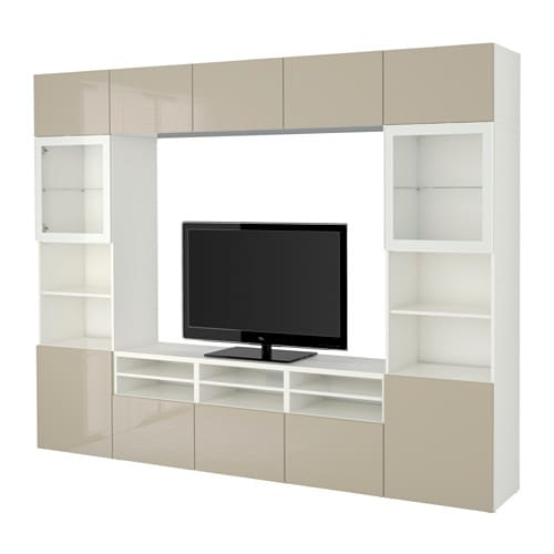 best tv storage combination glass doors white selsviken high gloss beige clear glass drawer. Black Bedroom Furniture Sets. Home Design Ideas