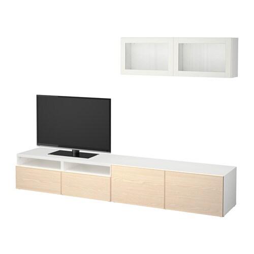 best 197 tv storage combination glass doors white sindvik
