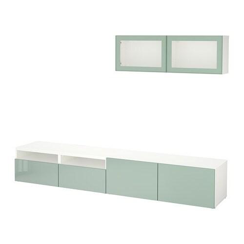Best tv storage combination glass doors white selsviken for Ikea planner soggiorno