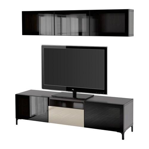 ... doors - black-brown/Selsviken high gloss/beige clear glass - IKEA