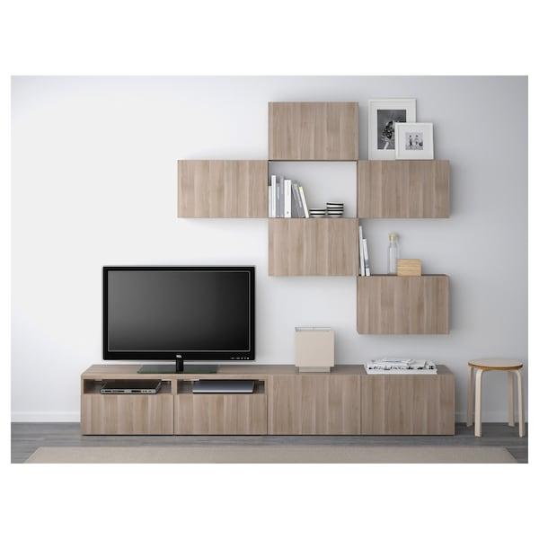 Besta Tv Storage Combination Lappviken Walnut Effect Light Gray