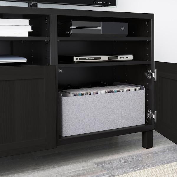 """BESTÅ TV unit with doors, black-brown/Hanviken/Stubbarp black-brown, 47 1/4x16 1/2x29 1/8 """""""