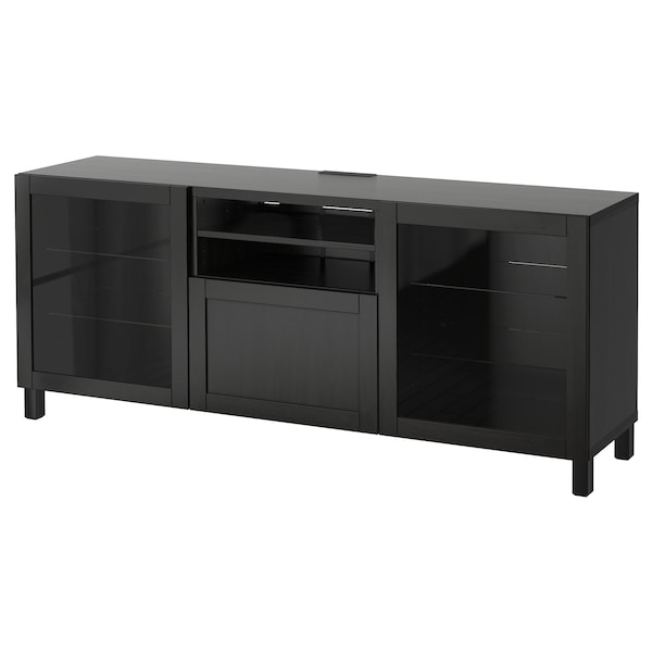 BESTÅ TV unit with drawers, black-brown/Hanviken/Stubbarp black-brown clear glass, 70 7/8x16 1/2x29 1/8 ""