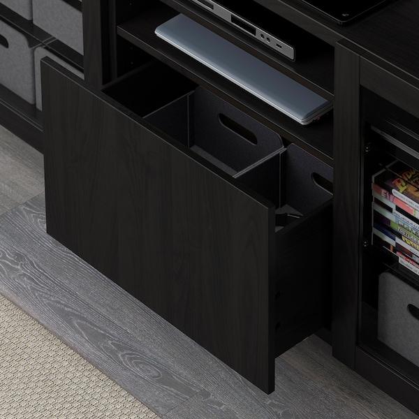 "BESTÅ TV unit with drawers, Lappviken/Sindvik black-brown clear glass, 70 7/8x15 3/4x29 1/8 """
