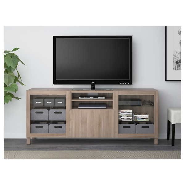 BESTÅ TV unit with drawers, Lappviken/Sindvik gray stained walnut eff clear glass, 70 7/8x15 3/4x29 1/8 ""