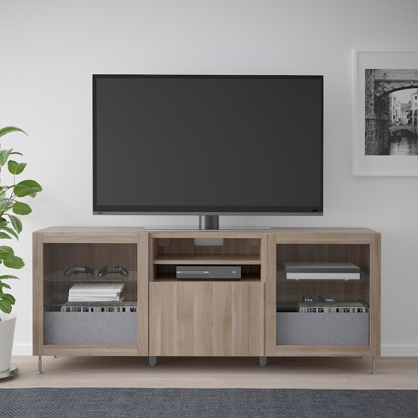 BESTÅ TV unit with drawers, walnut effect light gray/Lappviken/Stallarp gray stained walnut eff clear glass, 70 7/8x16 1/2x29 1/8 ""