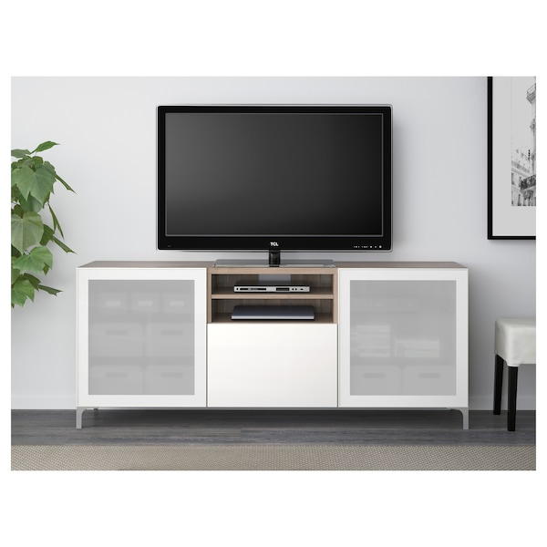 BESTÅ TV unit with drawers, walnut effect light gray/Selsviken high-gloss/white frosted glass, 70 7/8x15 3/4x29 1/8 ""