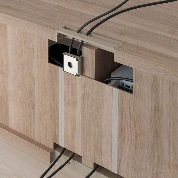 "BESTÅ TV unit with drawers, walnut effect light gray/Selsviken high-gloss/white, 47 1/4x16 1/2x15 3/8 """