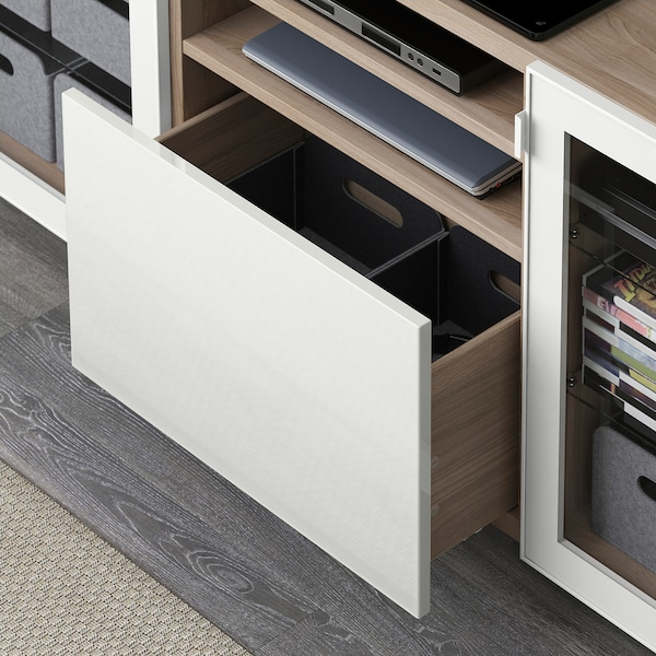 BESTÅ TV unit with drawers, walnut effect light gray/Selsviken/Stallarp high gloss/white clear glass, 70 7/8x16 1/2x29 1/8 ""