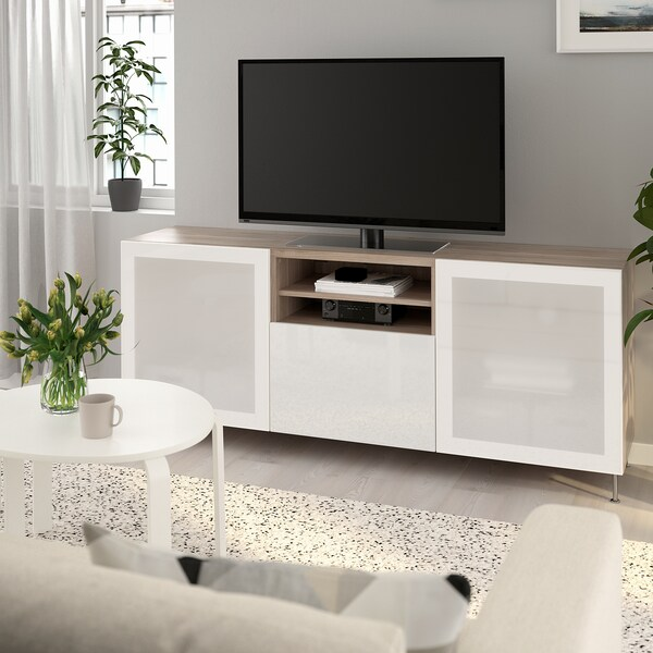BESTÅ TV unit with drawers, walnut effect light gray/Selsviken/Stallarp high-gloss/white frosted glass, 70 7/8x16 1/2x29 1/8 ""
