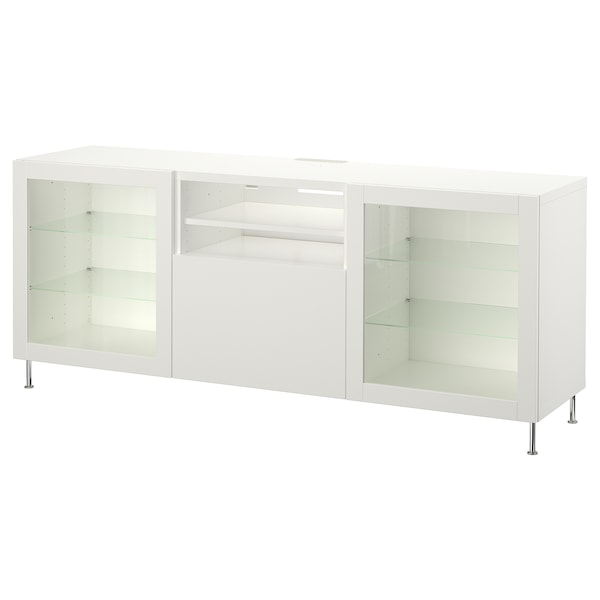 BESTÅ TV unit with drawers, white/Lappviken/Stallarp white clear glass, 70 7/8x16 1/2x29 1/8 ""