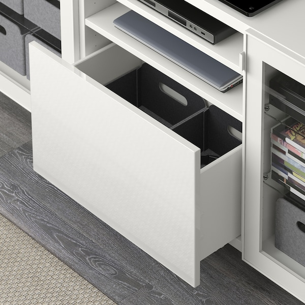 BESTÅ TV unit with drawers, white/Selsviken high gloss/white clear glass, 70 7/8x15 3/4x29 1/8 ""
