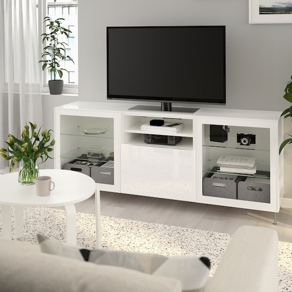 BESTÅ TV unit with drawers, white/Selsviken/Stallarp high gloss/white clear glass, 70 7/8x16 1/2x29 1/8 ""