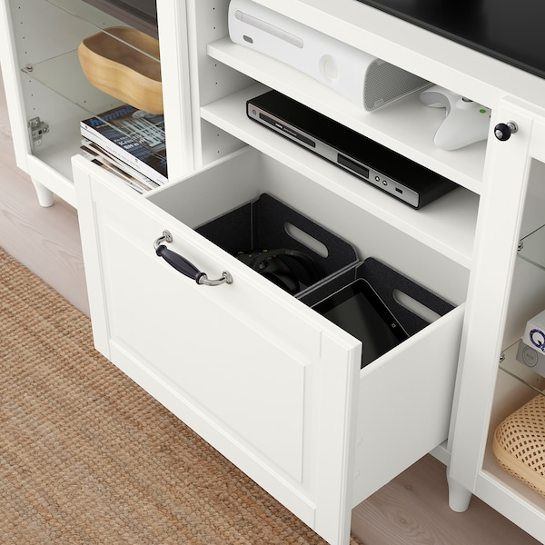 "BESTÅ TV unit with drawers, white/Smeviken/Kabbarp white clear glass, 70 7/8x16 1/2x29 1/8 """