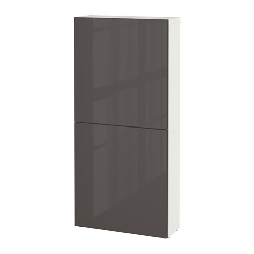 best wall cabinet with 2 doors white selsviken high gloss gray ikea. Black Bedroom Furniture Sets. Home Design Ideas