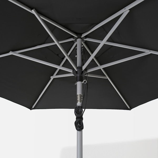 Bets lind ja patio umbrella with base gray wood - Black and grey house ...