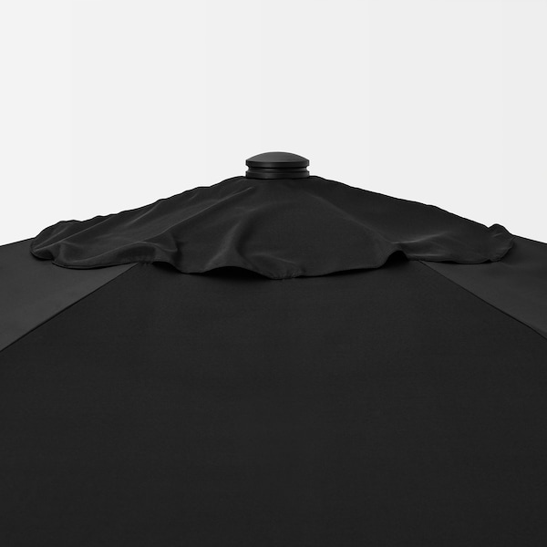 BETSÖ / LINDÖJA Patio umbrella, gray wood effect/black, 118 1/8 ""