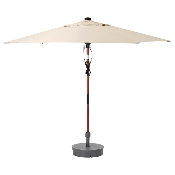 BETSÖ / LINDÖJA Patio umbrella with base, brown wood effect beige/Grytö, 118 1/8 ""