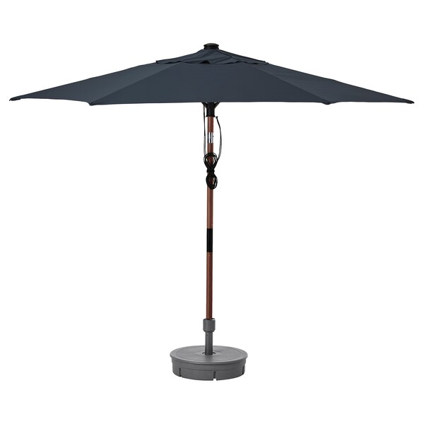"BETSÖ / LINDÖJA Patio umbrella with base, brown wood effect dark blue/Grytö, 118 1/8 """