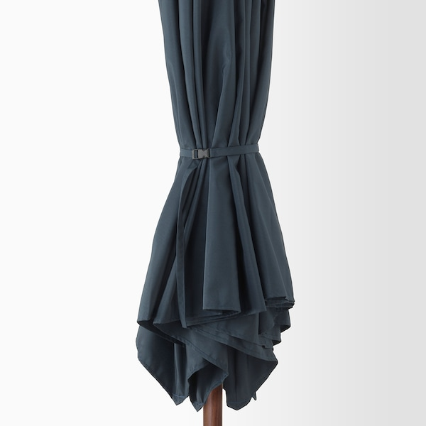 "BETSÖ / LINDÖJA Patio umbrella with base, brown wood effect dark blue/Huvön, 118 1/8 """