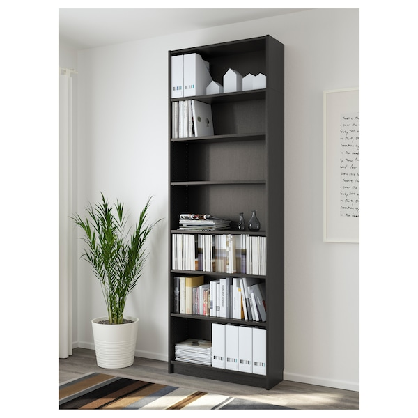 BILLY Bookcase, black-brown, 31 1/2x11x93 1/4 ""