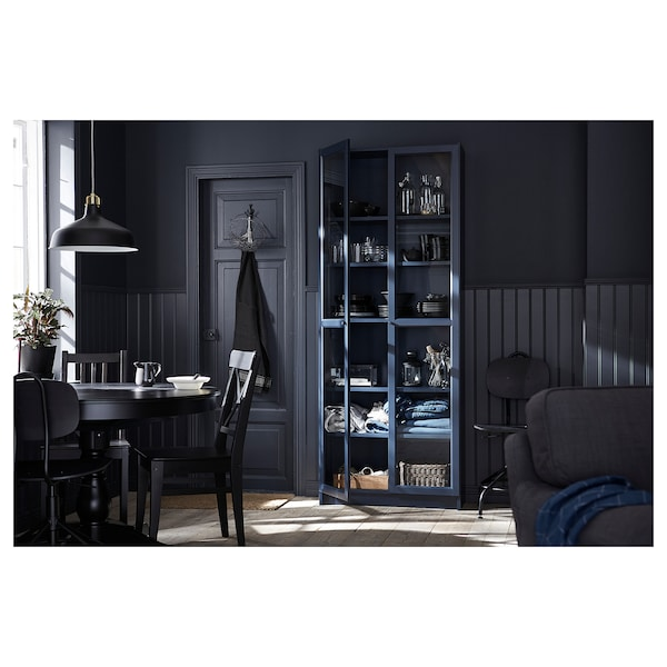 Billy Bookcase With Glass Doors Dark Blue