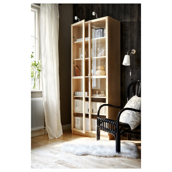 BILLY / OXBERG Bookcase, birch veneer, 31 1/2x11 3/4x79 1/2 ""