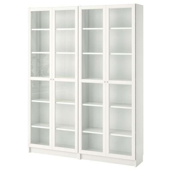 BILLY / OXBERG Bookcase, white/glass, 63x11 3/4x79 1/2 ""