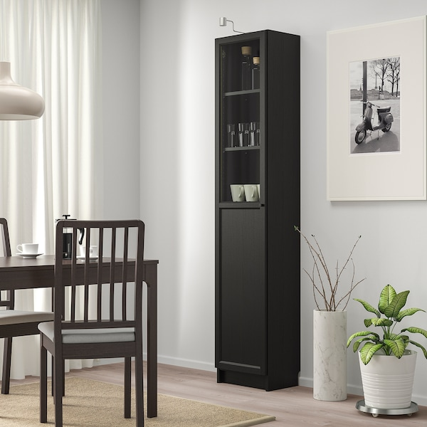 """BILLY / OXBERG Bookcase with panel/glass door, black-brown/glass, 15 3/4x11 3/4x79 1/2 """""""
