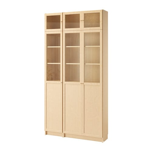 billy oxberg bookcase birch veneer glass ikea. Black Bedroom Furniture Sets. Home Design Ideas