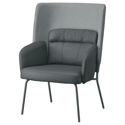 BINGSTA Armchair high, Vissle dark gray/Kabusa dark gray