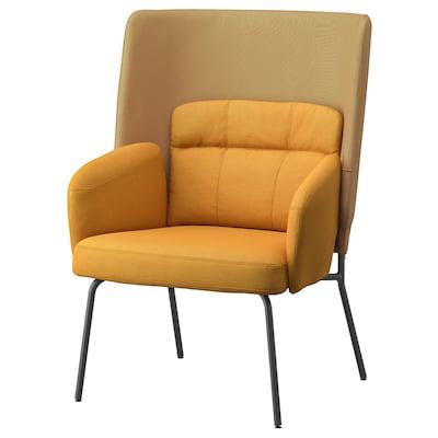 BINGSTA Armchair high, Vissle dark yellow/Kabusa dark yellow