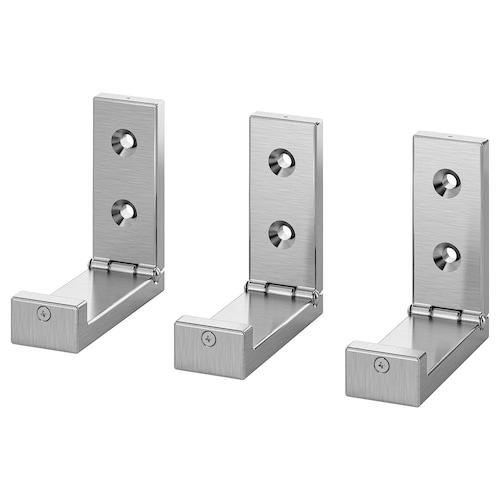 "BJÄRNUM folding hook aluminum 1 ¼ "" 3 ¼ "" 3 ¼ "" 3 pack"