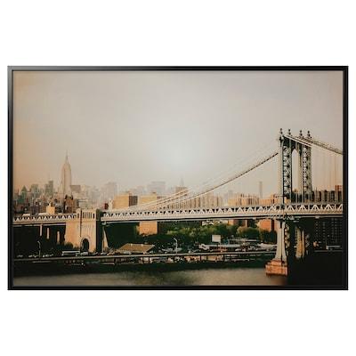 """BJÖRKSTA Picture and frame, Manhattan Bridge/black, 46 ½x30 ¾ """""""