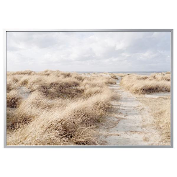 "BJÖRKSTA Picture and frame, Sand dune/aluminium-colour, 78 ¾x55 """