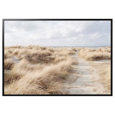 "BJÖRKSTA Picture and frame, Sand dune/black, 78 ¾x55 """