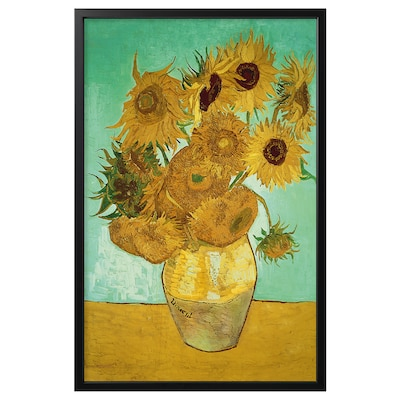 "BJÖRKSTA Picture and frame, still life/Vase With Twelve Sunflowers black, 30 ¾x46 ½ """