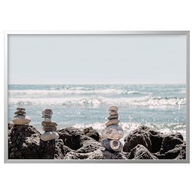 "BJÖRKSTA Picture and frame, Stone art/aluminium-colour, 55x39 ¼ """
