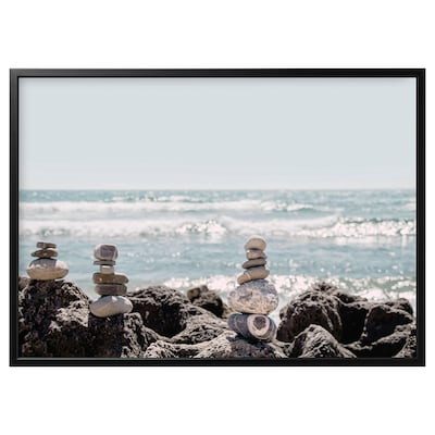 """BJÖRKSTA Picture and frame, Stone art/black, 55x39 ¼ """""""