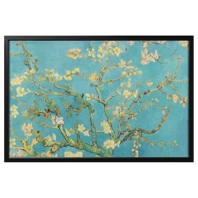"BJÖRKSTA picture and frame almond blossom/black 30 ¾ "" 46 ½ """