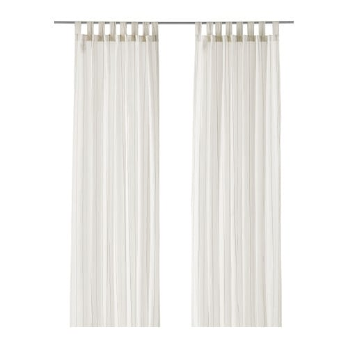BJÖRNLOKA LINJE Curtains, 1 pair   Linen gives the fabric a natural, irregular texture and makes it feel firm to the touch.