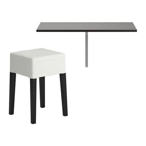 BJURSTA / NILS Table and 1 stool   Becomes a practical shelf for small things when folded down.