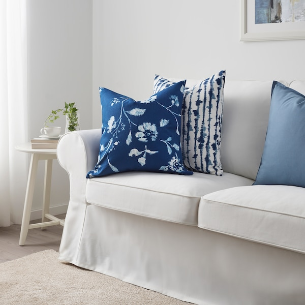 BLÅGRAN Cushion cover, blue/white, 20x20 ""