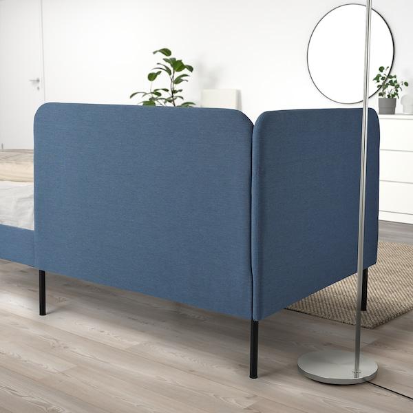 BLÅKULLEN Uph bed frame with corner headboard, Knisa medium blue, Twin
