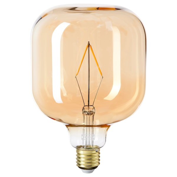 BLEKKLINT / LUNNOM Table lamp with LED bulb, brown