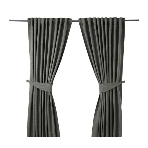 BLEKVIVA Curtains with tie-backs, 1 pair
