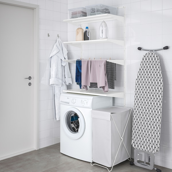 """BOAXEL Laundry combination, white/metal, 32 1/4x15 3/4x79 """""""